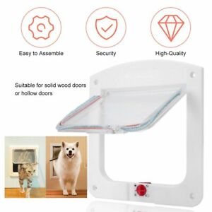 4 Way Locking Pet Cat Kitty Small Dog Doggy Puppy Flap Safe Door Tunnel GN