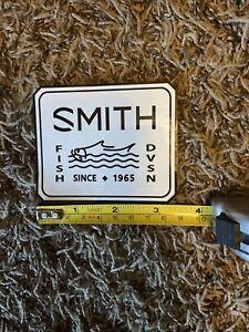 "Smith Optics Fish Fishing White Black Sticker Decal Approx 3.5"" Dvsn Water"