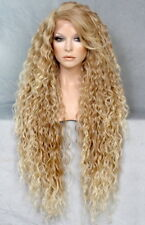 "38"" Long Lace Front Wig Spanish wavy bangs Blonde mix HairPiece WESP 27-613"