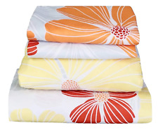 Beautiful Bedding Super Soft Comfort Floral 6 pcs Sheet Set Orange Yellow Red