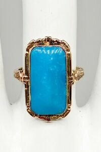 Antique Edwardian 1900s Signed FAITH 10ct Natural Turquoise 10k Yellow Gold Ring