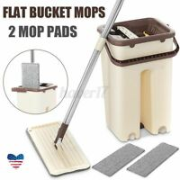Squeeze Mop And Bucket Hand Free Flat Floor Self Cleaning Microfiber With 4-Pads