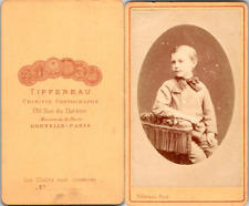 Tiffereau, Paris, Petit garçon Vintage CDV albumen carte de visite  CDV, tirag
