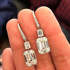 Emerald Cut Diamond Drop Dangle Women Earring Solid 10K White Real Gold 3.50 Ct