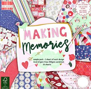 MAKING MEMORIES Dovecraft 8 x 8 Sample Paper Pack 16 sheets 200gsm Card