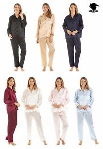 Womens Luxury Satin Nightwear Full Length Button Up Pyjama  Set Sizes 10 to 28