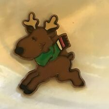 Vintage Hallmark Cards Plastic Reindeer Christmas Holiday Brooch Pin – marked on