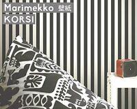 REDUCED ! MARIMEKKO by SIRPI Black white stripe wallpaper 1 roll (2 available)