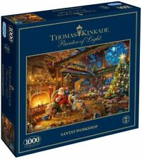 New Gibsons Thomas Kinkade 1000 Piece Jigsaw Puzzle Santa's Workshop CHRISTMAS