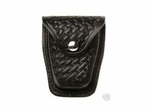 HWC Police Black Leather Handcuff Case Holder Duty Belt Heavy Duty  IMPHCC1BW