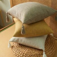 Linen Cotton Pillow Cover With Tassels Home Decor Cushion Cover 45x45cm AU