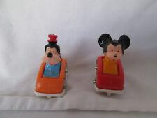 Vintage Disney Miniature Mickey Mouse & Goofy in Cars Metal Wheels HONG KONG