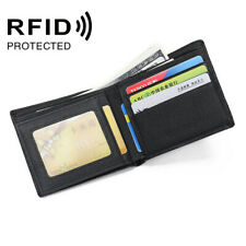 Black Litchi Genuine Leather Bifold Wallet for Men RFID Blocking ID Card Holder
