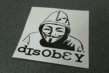 """Anonymous - Guy Fawkes Mask disobey hoody- Sticker - 3"""" x 3"""" black"""