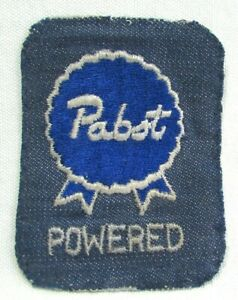 Vintage 1970's Pabst Blue Ribbon Beer Powered Denim Jacket Patch Badge Funny