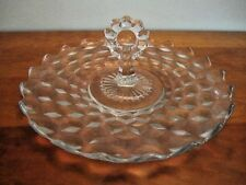 Vintage Heavy Pressed Glass Server with Center Loop Handle