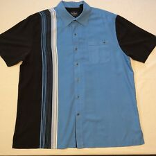 NAT NAST LUX American Fit Blue Black Striped ALL SILK SS Button Shirt Men's L