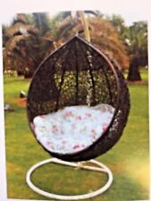 Outdoor Brown Wicker Hanging Basket Swing Egg Chair with Cushions