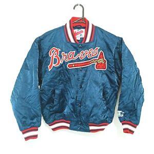 Vintage Atlanta Braves Mens Starter Satin Bomber Jacket Size M MLB USA Baseball