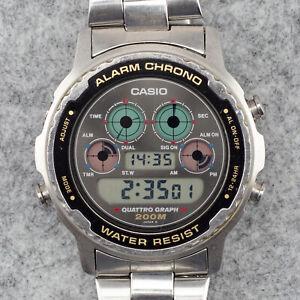 Rare Vintage CASIO Quattro Graph DW 7300 - 927 - 1990 - Chrono Alarm 200m Steel