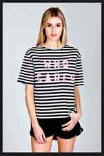 "BNWT nANA jUDY T TEE Shirt DESIGNER STRIPE ""WHO CARES""  SIZE UK 10 NEW UNOPENED"