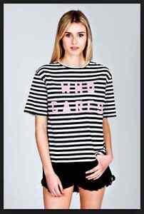 "BNWT nANA jUDY T TEE Shirt DESIGNER STRIPE ""WHO CARES""  SIZE UK 6 NEW UNOPENED"