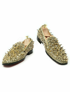 Gold Prom Shoes Round Toe Leather Rivets Slip On Spike Shoes New Size 8.5