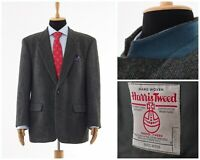 Mens HARRIS TWEED Blazer Coat Jacket Two Button Wool Grey Size 44 XL 54