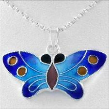 """925 Silver Enamel Blue Butterfly Pendant, 18"""""""
