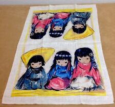 Vintage Kitchen Towel, Linen, Three Little Mexican, Indian Girls, Multi Color
