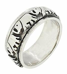 8.5mm Solid 925 Sterling Silver Elephant Design Spinning Stress Relief Ring