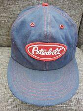 Vtg PETERBILT Blue Denim TRUCKER HAT Driver Snapback Baseball Cap ONE SIZE Cool!