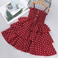 Toddler Child Baby Girls Polka Dot Printing Suspender Sleeveless Princess Dress