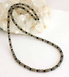 Labradorite Chain With Black Spinel Precious Stone Necklace Collier Ladies 45cm