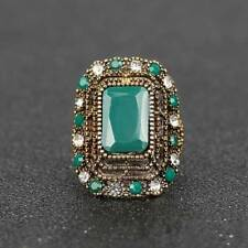 Retro Crystal Jewelry Gold Plated Big Oval Shape Elegant Vintage Rings For Women