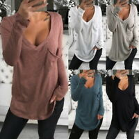 Women's V-Neck Long Sleeve Casual Shirt Solid Loose Pocket Blouse T-Shirt Tops