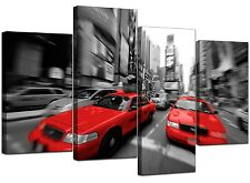 Large Black White Red Taxi New York Canvas 130cm Wide Pictures XL 4025