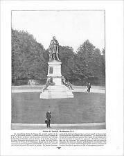 JAMES GARFIELD STATUE WASHINGTON DC /  MARE FRANCONIA WHITE MOUNTAINS 1897 PRINT