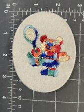Vintage Teddy Bear Tennis Player Embroidered Patch  Badge Applique Racket Ball
