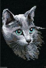 "Riolis Counted Cross Stitch kit 8"" x 12"" ~ RUSSIAN BLUE CAT #764 Sale"