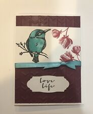 Card Kit Set Of 4 Stampin Up Hummingbird Embossed Colored With Copics LOVE LIFE