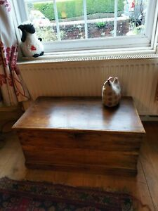 Large Victorian Pine Blanket Box / Chest / Trunk / Coffee Table Antique Vintage