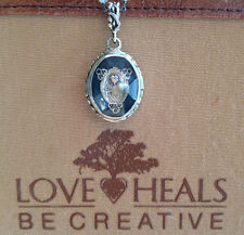 Love Heals Faceted Cabochon Crystal Rosary Brocade Charm w/fancy ring NEW ret$59