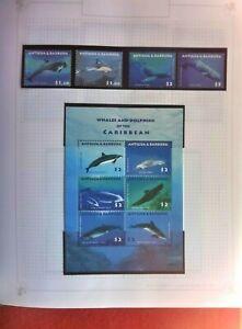 2010 ANTIGUA & BARBUDA WHALES DOLPHINS CARIBBEAN SET OF 4 & MINI SHEET  6 MUH