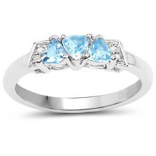 9ct White Gold Blue Topaz & Diamond Engagement Ring,Size H,I,J,K,L,M,N,O,P,Q,R,S