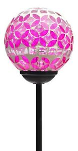 Solar Wholesale 1024-P Pink Mosaic Glass Ball Solar Garden Light with Color LED