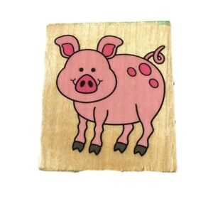 Pig Wood Mounted Rubber Stamp Used Piggy Hog Stationary Farm Scrapbooking Cards