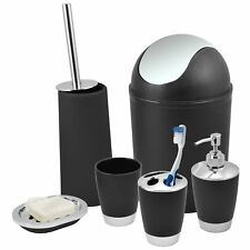 Black Bathroom Accessories Set Bin Toothbrush Tumbler Holder Soap Dish Dispenser