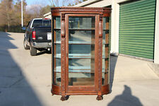 Magnificent Victorian Tiger Oak Bow Front China Display Cabinet w Roaring Lions