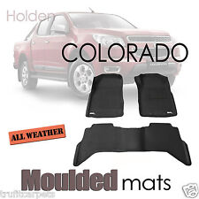 To suit Holden Colorado 2012 to 2015 - BLACK Rubber 3D Mats - Dual Crew Cab